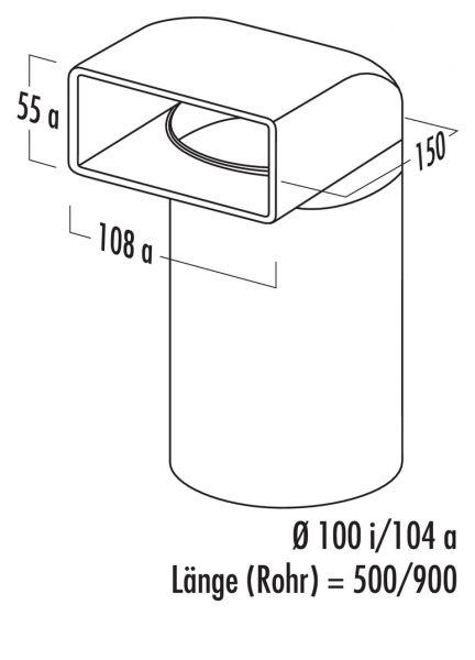 N-UR 100 Umlenkstück 90° mit Rundrohr, Verbindungselement, weiß, L 900 mm