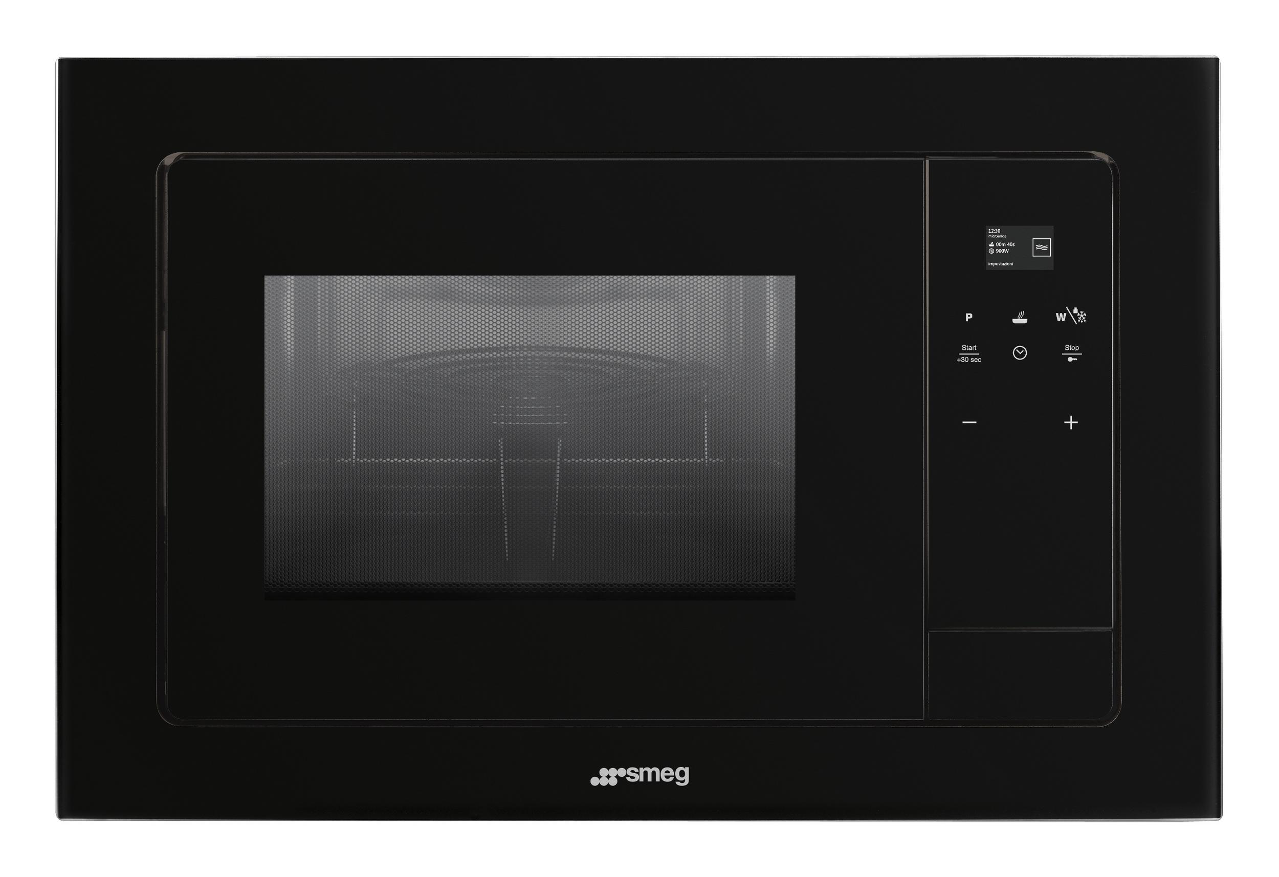 Smeg Kühlschrank Schwarz Gebraucht : Smeg fmi120 mikrowellenbackofen 38 cm mit einbaurahmen schwarz oder