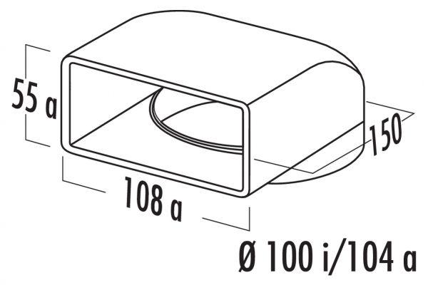 N-UR 100 Umlenkstück 90°, Verbindungselement, weiß