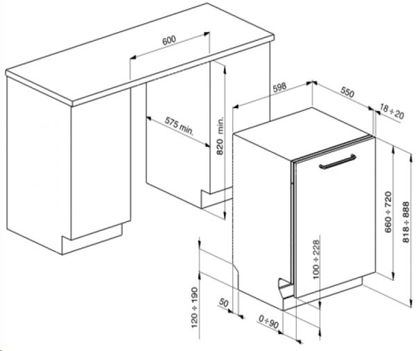 ST997-2 Geschirrspüler passend für Smeg BL3 u. BL4