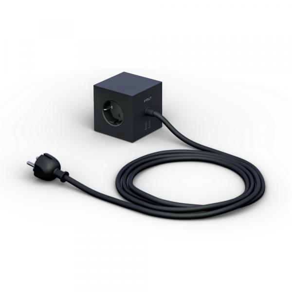 Square 1 black Design Steckdose 3-Fach mit 2 x USB Port und Magnetplatte