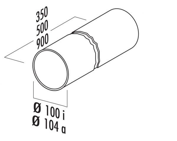 Rundrohr 100, Lüftungsrohr, weiß, L 500 mm