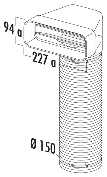 F-URX 150 Umlenkstück 90° mit Flexschlauch, Verbindungselement, weiß, L 1000 mm