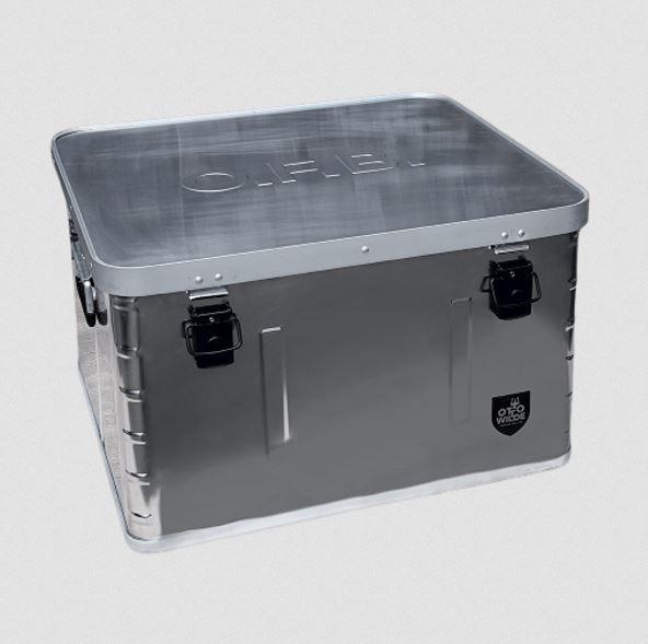 Aufbewahrungsbox aus robustem Aluminium mit gepolstertem Innenleben und Griffen