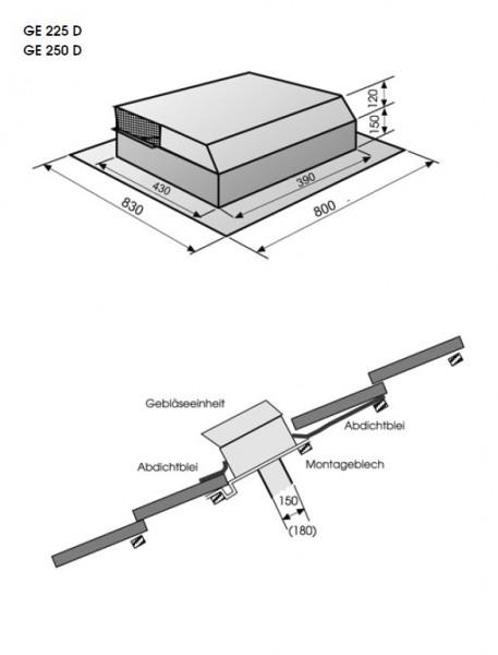 1050 m3 Lüftermotor/ Dachlüfter GE 225 D von 22° - 48° Neigung