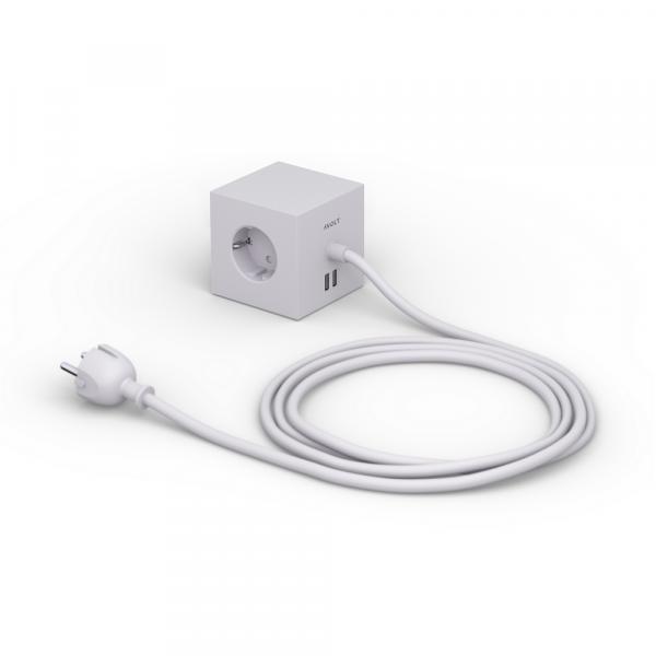 Square 1 grey Design Steckdose 3-Fach mit 2 x USB Port und Magnetplatte