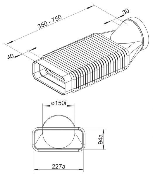 F-RBFLEX 2 System 150 Rohrbogen, Verbindungselement, weiß