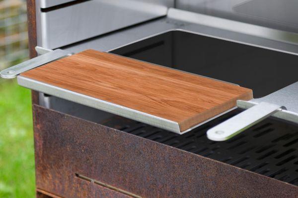 K60 Raclette Edelstahl mit Holzschneidebrett