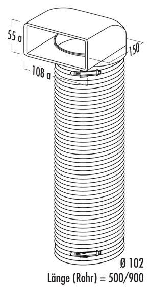 N-URX 100 Umlenkstück 90° mit Flexschlauch, Verbindungselement, weiß, L 500 mm