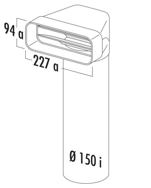 F-UR 150 Umlenkstück 90° mit Rundrohr, Verbindungselement, weiß, L 900 mm