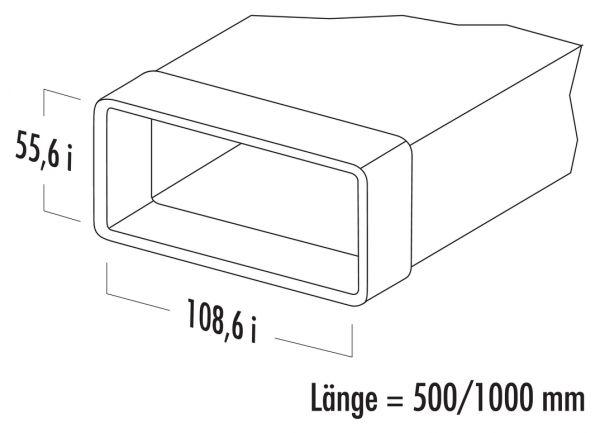 N-VRM 100 Lüftungsrohr mit Muffe, weiß, L 1000 mm